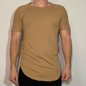 Large Scooped Tan Brown Vitaly T-Shirt